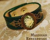 Green Rose Cameo Bracelet brass on leather handmade lolita steampunk