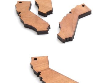 State of California Minis (with holes) -  Wood Charms by Timber Green Woods