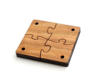 "Wood Puzzle Piece Beads - Four Pieces (2"" Square) Laser Cut from Sustainable Harvest Wisconsin Wood . Timber Green Woods"