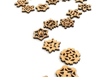 Pick 3 - Mini Snowflake Wood Monogram Tie-on - Sustainable Wisconsin Wood . Gifts made in the USA by Timber Green Woods
