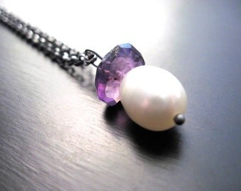 Large Freshwater Pearl, Mystic African Amethyst, Oxidized Sterling Silver