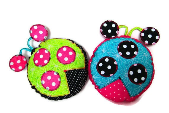 Ladybug Pillows for Baby Toddler Kids Children Girls - Baby Shower Gift - Custom Made to Order to Match Your Childs Room Decor - Set of Two