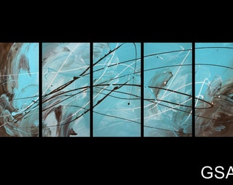 5 ABSTRACT CANVAS PAINTING brown turquoise