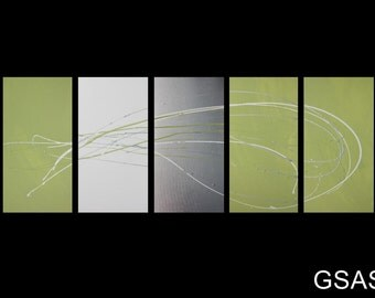 5 ABSTRACT CANVAS PAINTING white lime green silver Artwork wall art
