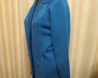 Vintage 80s Aquamarine Cardigan Jacket