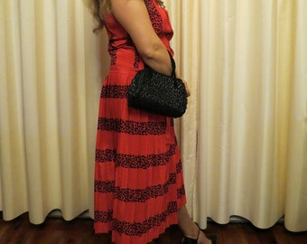 Made in Australia Vintage 80s Does 20s Red and Black Leopard Print Flapper Dress Sydney Great Gatsby Style