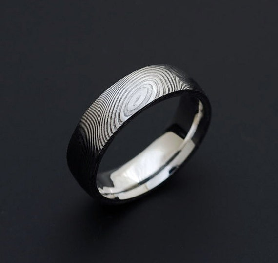 Genuine Stainless Damascus Steel And Platinum Ring PD60