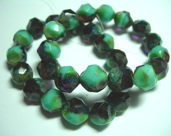 15 9mm Turquoise and Amethyst  Picasso Firepolished Thru Cuts Czech Glass Beads