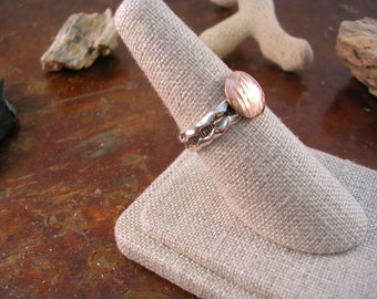 Textured silver and copper disk ring