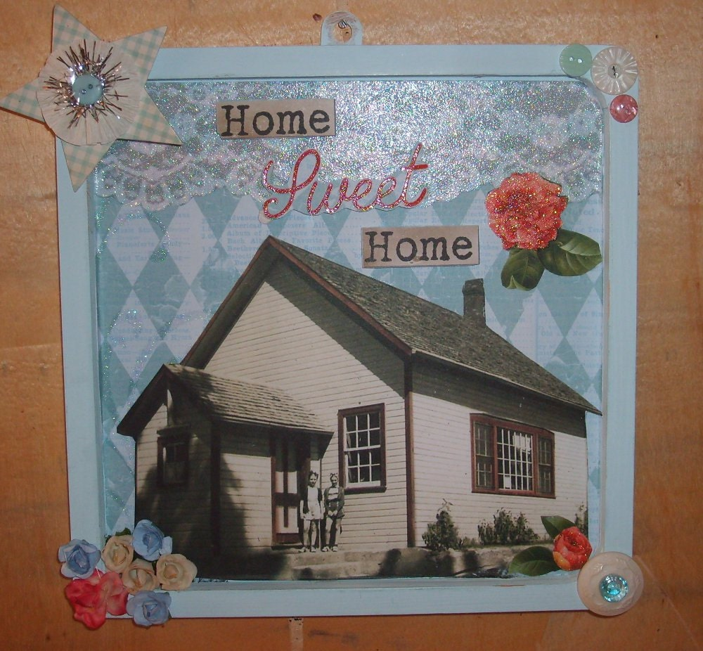 Home sweet home vintage inspired collage wall decor Home sweet home wall decor