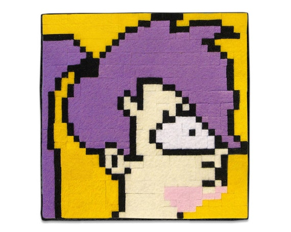 Items similar to Purple Haired Cartoon Character, 8 x 8 ...