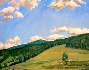 Summer Shapes, Berkshires. Large 24x30 Realist Oil on Canvas, American Impressionist Landscape Painting, Signed Original Fine Art