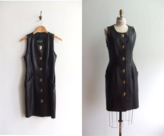 Vintage 1980s lamb leather dress with gold-tone kiss lock closures
