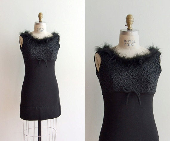 SALE / Vintage 1960s mini dress with lace bodice and ostrich feather trim around neckline