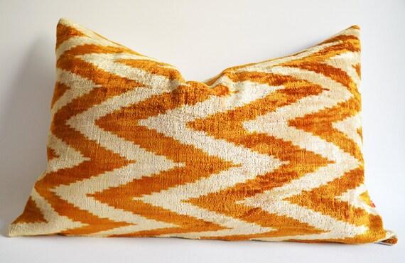 Sukan / Silk Velvet Ikat Pillow Cover, Lumbar Pillow - Decorative Ikat Throw Pillow Cover - Decorative Pillows - Beige, Gold Mustard