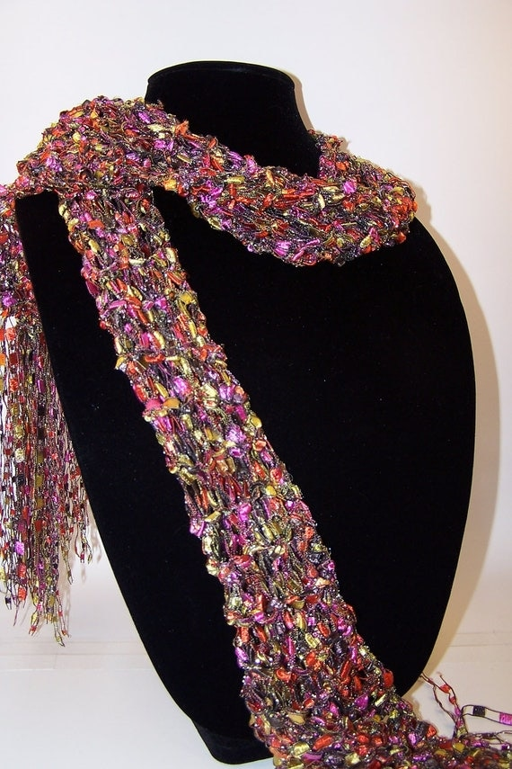 Knitting Pattern Ribbon Yarn Scarf : Glitter Scarf Knit from Black Orange Pink and by WeeCatCreations