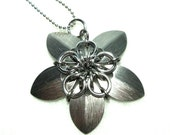 Flower Star Pendant in Silver, Scalemaille Chainmaille Jewelry