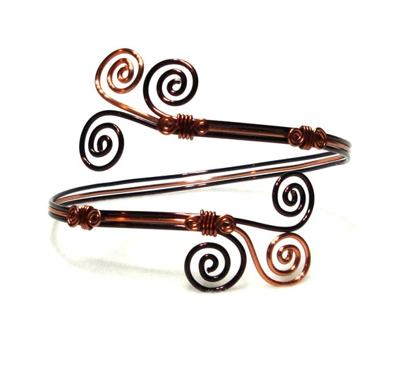 Arm Band, Cuff Bracelet, Brown and Copper Aluminum Wire