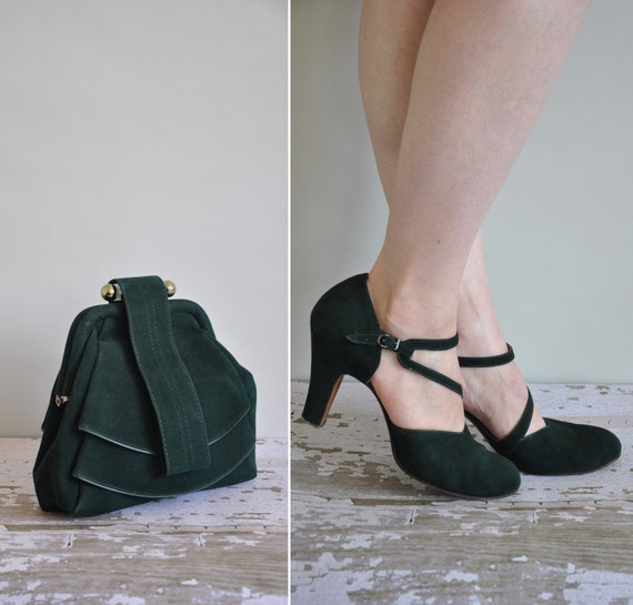 vintage rare 1940s heels and bag / 40s matching heels and lucite bag / Evergreen Trees
