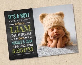 Chalkboard - Photo Birth Announcement - Baby Girl or Baby Boy