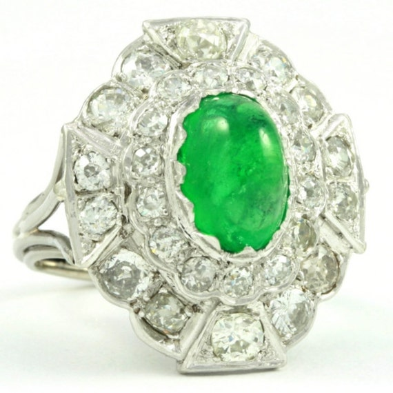 big emerald statement ring cabochon green by