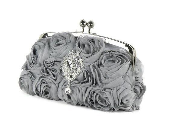Silver Bridal Clutch Purse, Gray Clutch, Silver Bridesmaids Clutch, Rhinestone Clutch, Silver Evening Bag with Swarovski Crystal Brooch