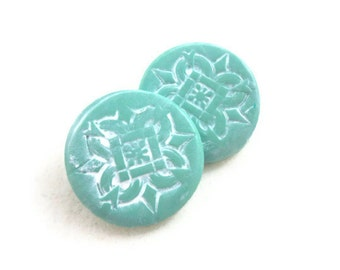 Large aqua buttons with shanks