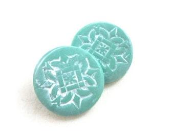 Beautiful buttons aqua shank polymer clay