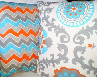 Orange Aqua Gray Pillow Covers, Decorative Throw Pillows, Cushion Covers, Grey Orange Aqua Cream Rosa and See Saw, Set of Two Various Sizes