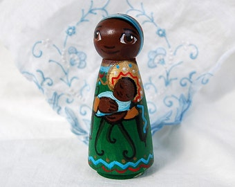 African Madonna and Child Jesus Catholic Saint Doll - Wooden Pro Life Gift - Made to Order