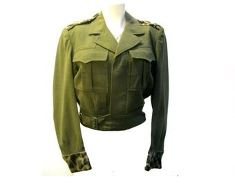 Vintage  Military Ike Jacket with Leopard Trim Epaulets and Cuffs Size 36  Upcycled Cropped Eisenhower Jacket