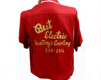Mens Bowling Shirt Vintage Best Electric Heating and Cooling Red and White Panel Gaberdine Fits Mns Size Medium