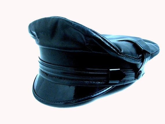 Vintage 1970's Men's Black Leather Motorcycle Biker Cruiser Hat size 7 Medium