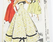 Vintage 1950s Dress Sewing Pattern - McCalls 9152 - Misses' Evening Dress in Two Lengths with Bolero - SZ 14/Bust 32