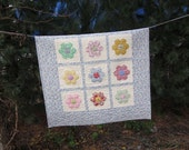 RESERVED FOR SAMANTHA  Hexagon Flowers Baby Quilt