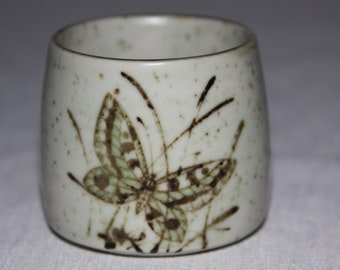 Ceramic Cup Vintage Pottery Butterfly design  Brown butterfly wings Signed Tea cup