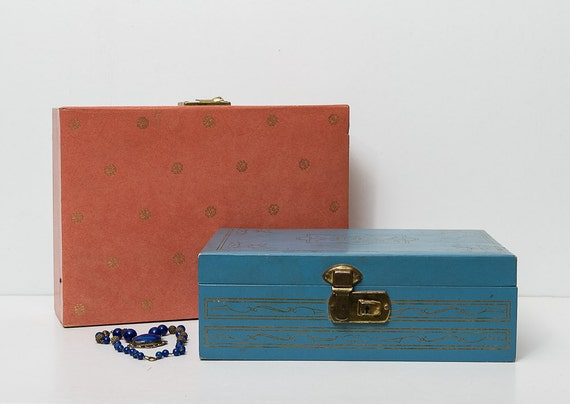 vintage 1950s jewelry box / pink and blue set