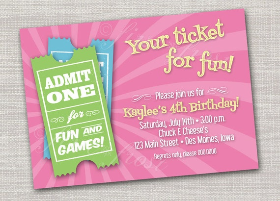 Kids Birthday Ticket Invitation Games Pizza Arcade Ticket for – Arcade Party Invitations