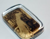 SALE Vintage Sepia Photograph Glass Paperweight, Home, Office