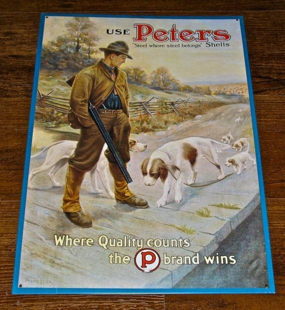 Vintage Peters Shells Remington Arms Hunting Tin Metal
