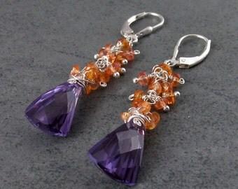 Alexandrite earrings with orange padparadscha sapphire, handmade sterling silver earrings-OOAK June and September birthstone jewelry