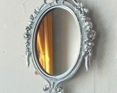 Small Wall Mirror in Vintage Bright Silver Metal Oval Frame, Retro Kitchen Decor, College Apartment, Wall Collage