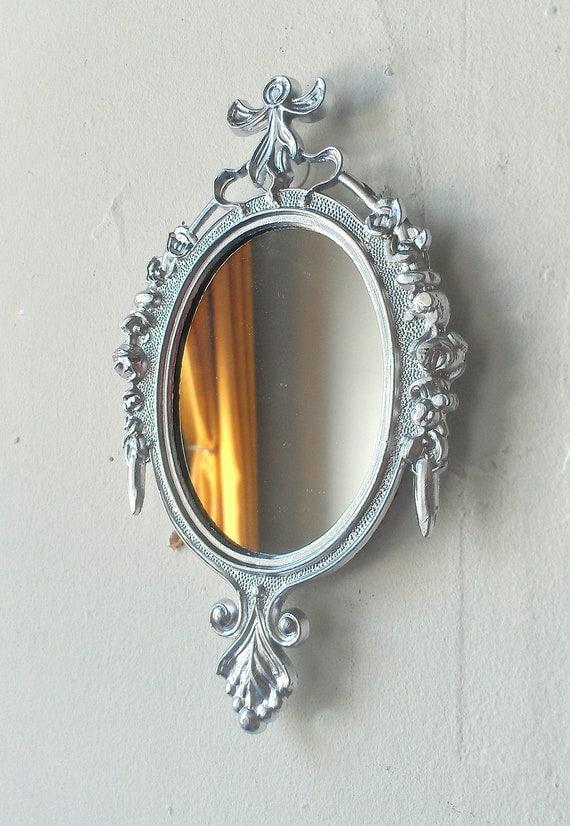 Decorative Mirror in Vintage Shiny Silver Frame - Revived Vintage