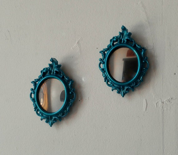Oval Mirror Set in Shimmering Aqua - Mini Vintage Frames with Convex Glass
