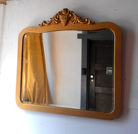 Large Wall Mirror Solid Wood Antique Gold Frame With Beveled Glass 29 by 30 inches