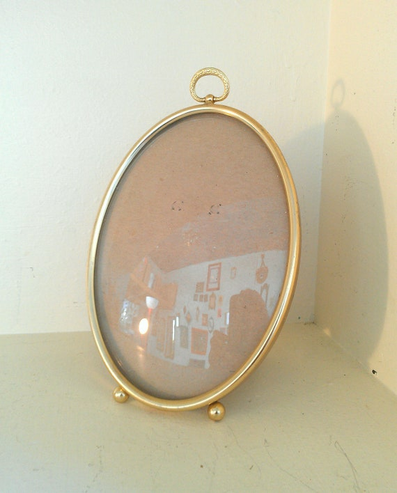 vintage picture frame with convex glass and by