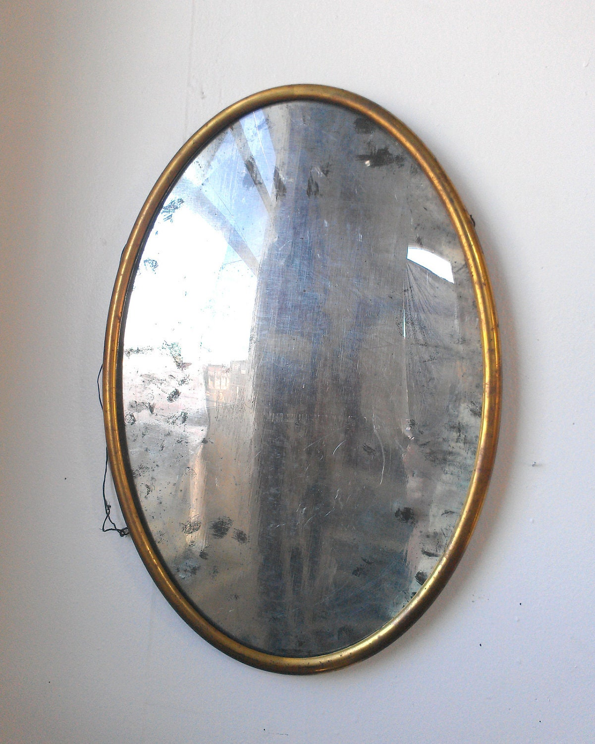 Large Antique Oval Frame With Convex Glass 20 By 14 Inches