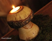 Log Mushroom Candle Rustic Holiday Table Decor Tea Light Holder Natural Waldorf