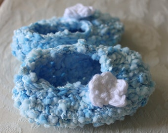 Baby Slippers Blue Flowers