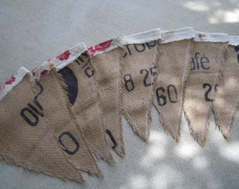 Burlap Banner Handmade Repurposed Coffee Bag Rustic Farmhouse, Home Decor, Wedding Decor, Party Flags, Garland